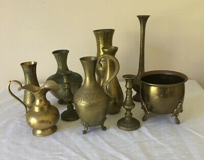 10 Brass Items Etched Vases Jugs & More Vintage Very Good Condition