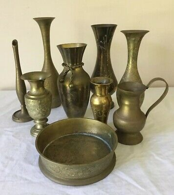 9 Brass Items Etched Vases Jug & Flat Bowl Vintage Very Good Condition