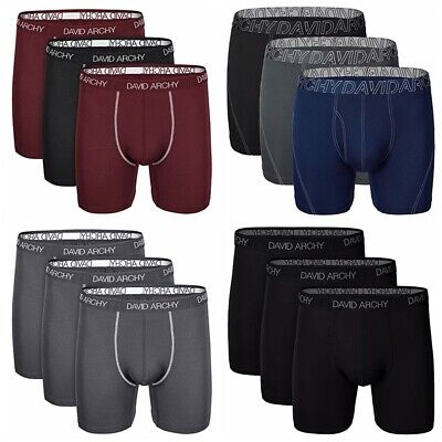 360ef8a71 David Archy 3 Pack Men Ultra Soft Dry Sports Underwear Boxer Briefs Size S  - 2XL