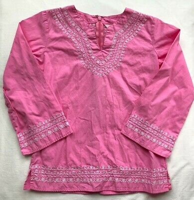 Lilly Pulitzer Top Shirt Sz 8 EUC Pink w/ White Embroidery & Sequins Long Sleeve