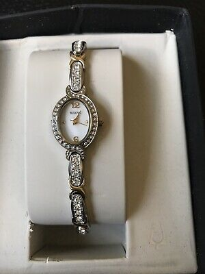 Bulova 98L005 Women's Silver and Gold-Tone Stainless Crystal 22mm Watch - NIB