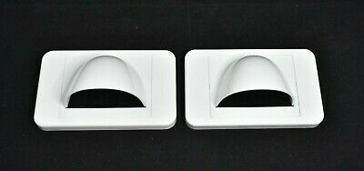 2x White Bullnose Media Wall Plate + Plaster Clip + Management Bristle Bull Nose