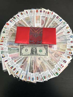 LOT 100 PCS unique banknotes from 50 countries in the world/UNC