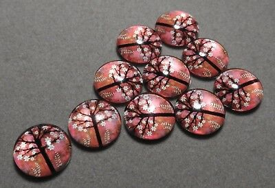 10 x 12 mm 'PINK & WHITE BLOSSOM Tree' Cabochons      (e302)