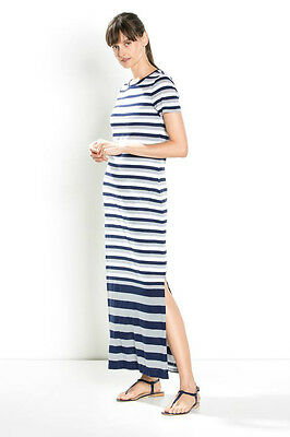 NWT $130 Designer COUNTRY ROAD Trenery Breton French Stripe Maxi Dress Lyocell