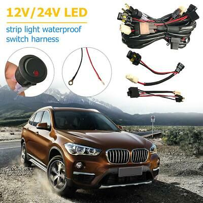 12V Dual Car LED Driving Light Wiring Loom Harness Fit with H4+HB3 Adapters