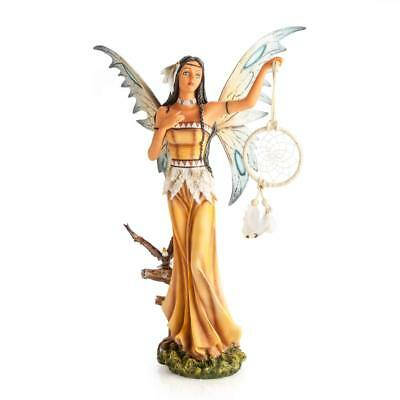Mystic Worlds Native US Inspired Fairy Statue with Dreamcatcher Eagle Companion