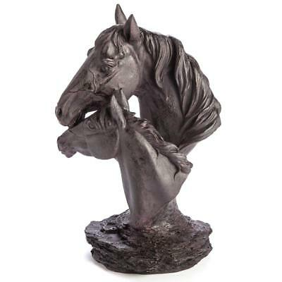 Mystic Worlds Mother and Foal Horse Head Sculpture Metal Statue Gift Brand New