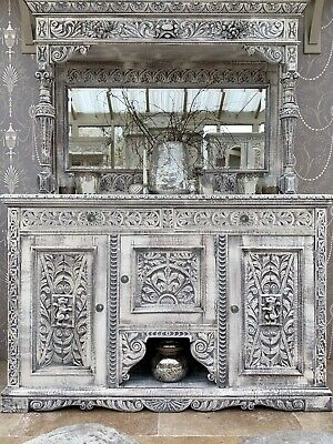 Gorgeous Heavily Carved Oak Mirrored Sideboard