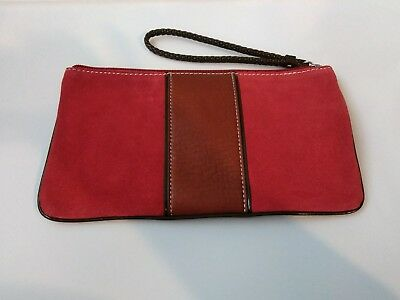 f0ae62a8844e Ann Taylor Live Love Loft Red & Tan Faux leather Zipper Clutch Makeup Bag F8