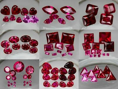 Lab Created Ruby & Pink Sapphire AAA Synthetic Loose Gemstone Many Sizes & Cuts