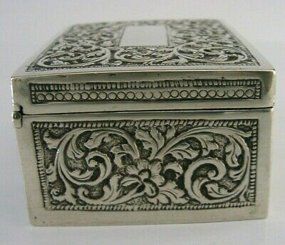 LARGE ANGLO INDIAN SOLID SILVER TABLE SNUFF SPICE BOX c1900 ANTIQUE HEAVY 179g
