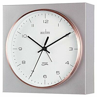 Acctim Lunz Table Or Wall Alarm Clock Silver Sweeping Hand Non Ticking Clock