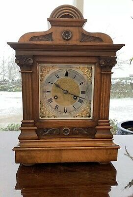 Jahresuhrenfabrik JUF German Impressive Victorian Mantle Clock Chiming 8 Day