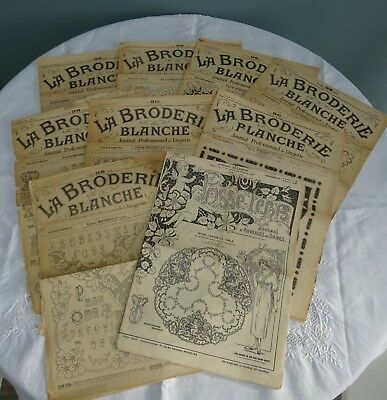 9 x Antique French La Broderie Blanche (White Embroidery) Pattern Magazines (d)