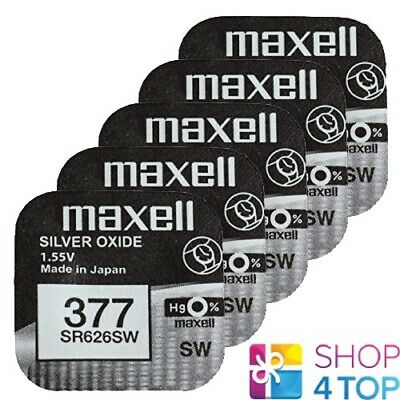 5 Maxell 377 376 Sr626Sw Batteries Silver 1.55V Watch Battery Exp 2022 New