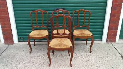Excellent Set Of Four French Oak Louis Style Dining Chairs With Rattan Seats