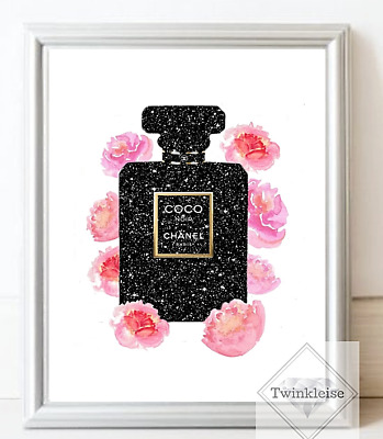 Fashion Perfume Bottle Chanel Watercolour Black Faux Glitter Room Art A4 Print