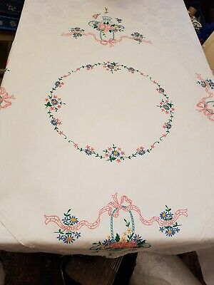 BEAUTIFUL VINTAGE HAND EMBROIDERED TABLECLOTH  pinks blues yellow flower basket