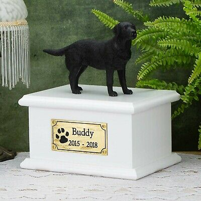 Solid Wood Dog White, Cremation Urn / Casket, Black Labrador