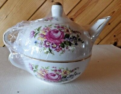 Nantucket  Single serving TEA POT, CUP, and LID  With floral and gold trim