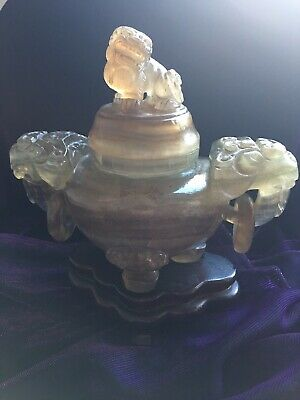 Chinese Qing Stone Koro/Censer, Fo Dog Lion Finial, Elephant Handles With Rings