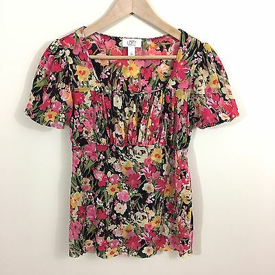 a0be67c8 ANN TAYLOR LOFT Maternity Floral SS Blouse Top Size Small Empire Black Pink