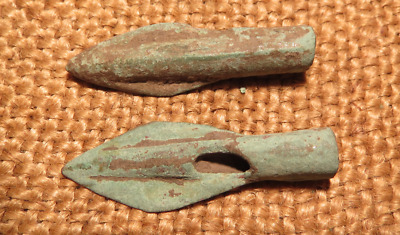 Scythian- Sarmatia Bronze 2 pcs.Old Original Ancient Barbed Arrowhea 7-4 BC #9