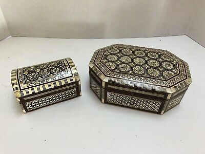 Pair Orient-Syrian Mosaic Inlay Wood Trinket Jewelry Stash Boxes Mother Pearl