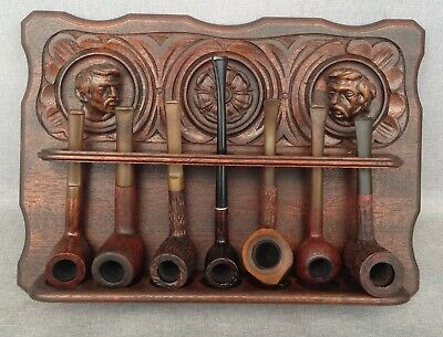 Big antique black forest pipes holder wood mid-1900's switzerland with 7 pipes