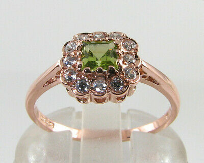 Dainty 9K 9Ct Rose Gold Peridot & Diamond  Art Deco Ins Ring Free Resize