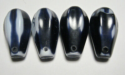 Beads - African Trade Wedding - 4 Top Drilled - Navy Blue with White