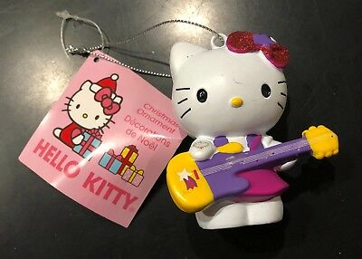 Hello Kitty Christmas Ornament Kurt Adler Purple Guitar Pink New With Tags Nm