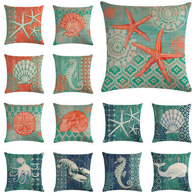 "18"" New Crab lobster Pattern Cotton Linen Cushion Cover Pillow case Home Decor"