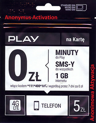 POLISH Sim Card New PLAY Prepaid PAYG Europe Standard Micro Nano / Karta Sim