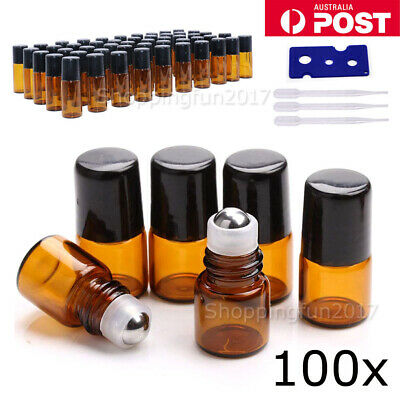 100X 1ml Roller Bottles Amber THICK Glass Steel Roll on Ball for Essential Oils