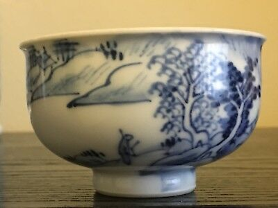 Chinese Antique Qing Dynasty Scholar Landscape Porcelain Cup