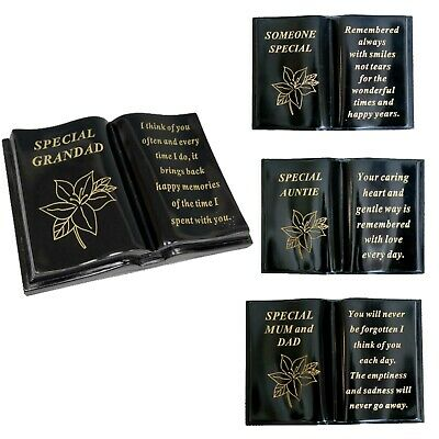 Memorial New Black & Gold Lilly Graveside Cemetery Sentimental Vases Plague Book