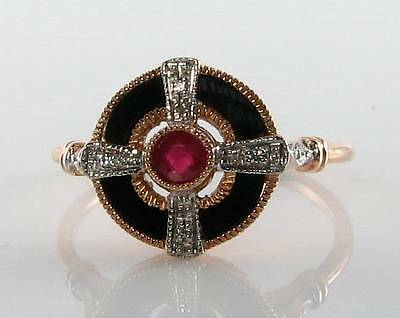 Lovely 9Ct 9K Rose Gold Ruby Onyx  Diamond Art Deco Ins Ring Free Resize