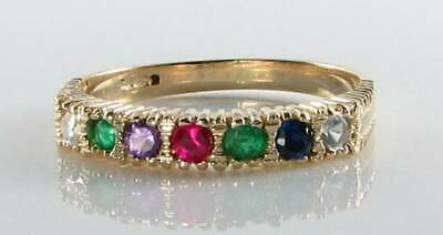 Classic 9K 9Ct Yellow Gold Dearest Art Deco Ins Eternity Ring Free Resize