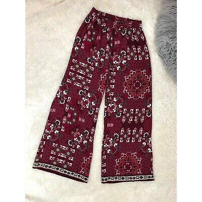 4a4f9fef4e5299 CATO WOMENS PALAZZO Pant Wide Leg Small Red Crepe Floral Print ...