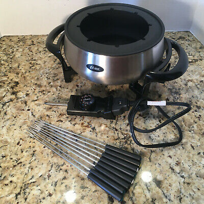 OSTER Electric Fondue Pot 8 Forks Stainless Steel Non-Stick FPSTFN7700