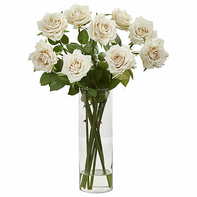 Nearly Natural 1798, Rose Artificial Arrangement in Cylinder Vase