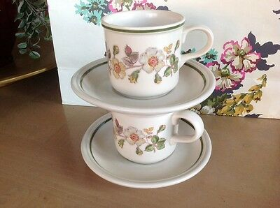 MARKS & SPENCER ~* Autumn Leaves*~  2 CUPS & SAUCERS - Straight Sided - VGC