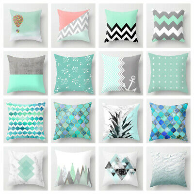 Green Geometric Decorative Cotton Cushion Cover Texture Throw Pillow Cases 45cm