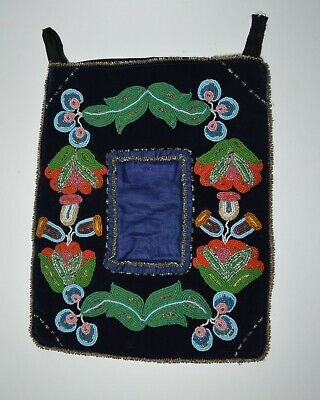 Fine Native American Indian ojibwe beaded Picture Frame pocket
