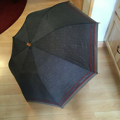 "Vintage Christian Dior Wood Handle Umbrella 36""d Herringbone Blue Grey Burgandy"
