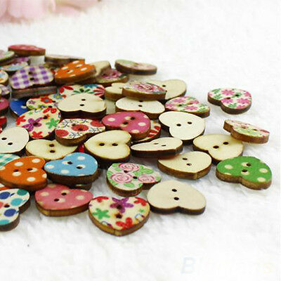 DIY 100Pcs 2 Holes 18mm Heart Shaped Colorful Wood Sewing Scrapbooking Buttons