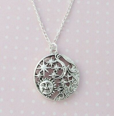 Silver Plated Necklace with Large Sun Moon Stars Pendant Pagan Celestial Wicca