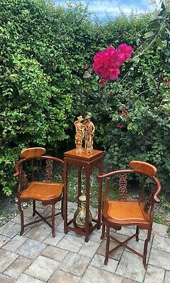 Set of Chinese Wood Corner Chairs with Flower Stand Tall Side Table